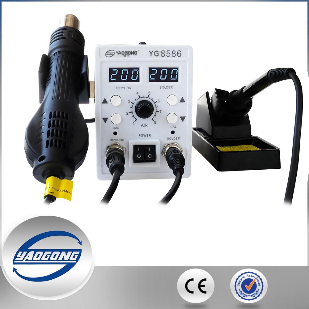 YAOGONG 8586 rework station Double digital 2 In 1 smd rework soldering station hot air mobile phone repair tools