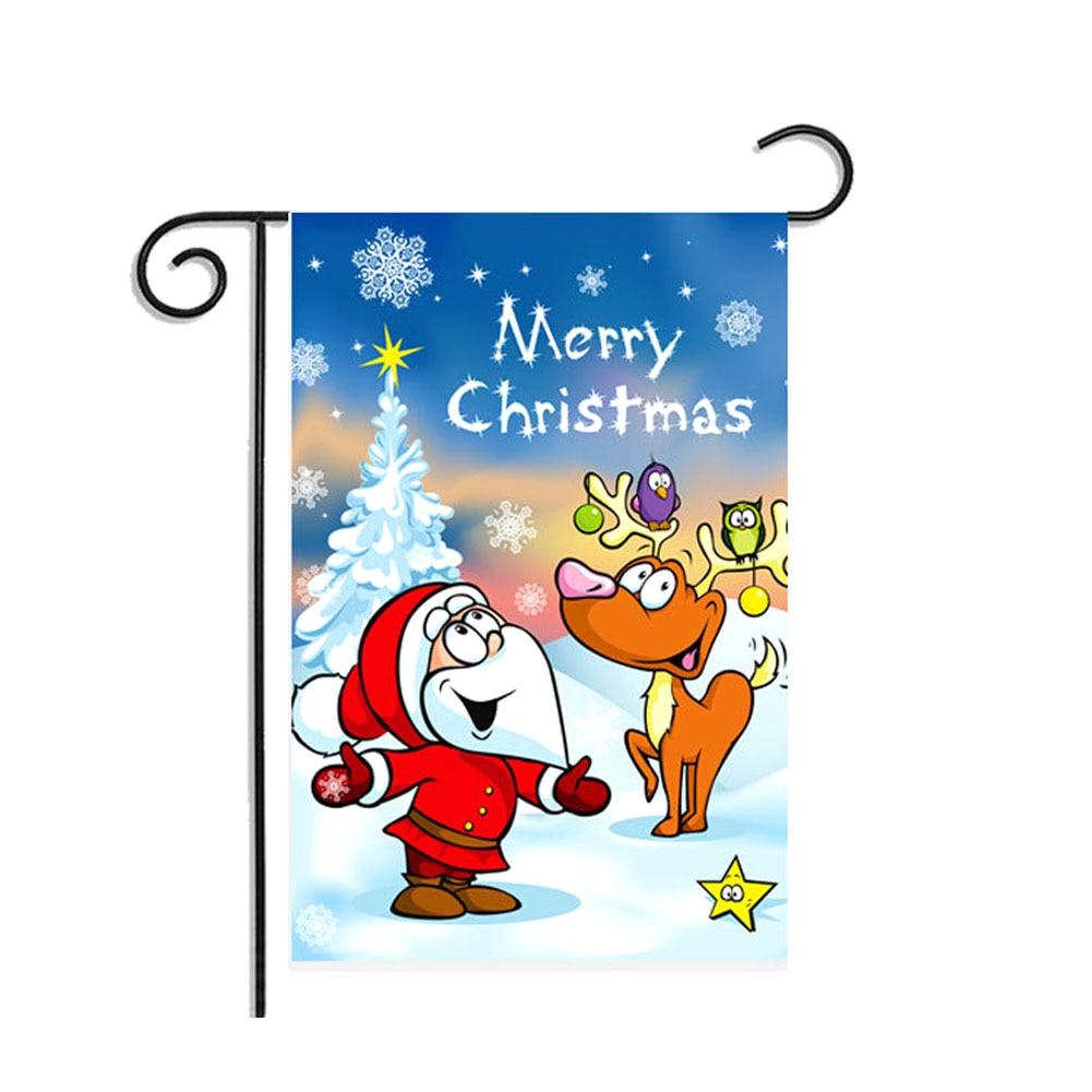 30 * 45CM Christmas Santa Claus Reindeer Snowman Garden Flag Indoor Outdoor Home Decor Winter Snowflake Festival Party TB Sale