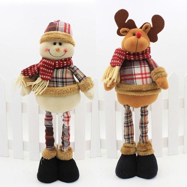 Christmas Party Decoration Retractable Dolls Christmas Decoration for Tree Santa Claus Snowman Toys Figurines Natale Decorazioni