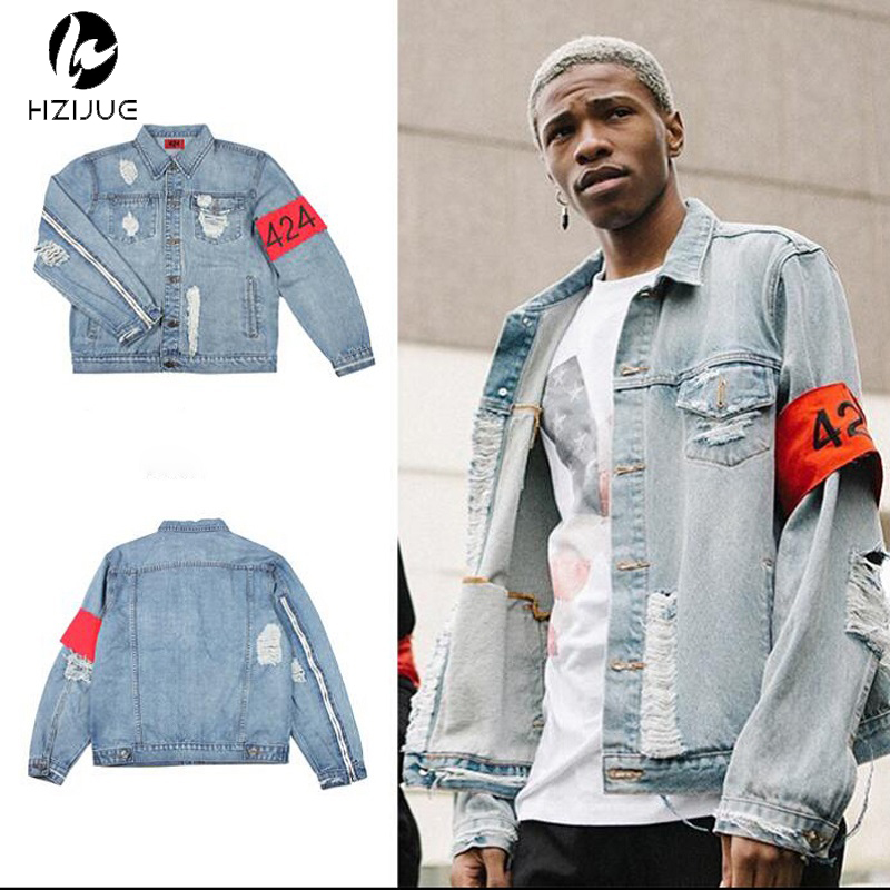 cheng hao tian Cool Fashion Hip Hop Mens Clothes Brand Clothing Fear Of God FourTwoFour 42 Rockstar Jeans Designer Ripped Denim Jacket