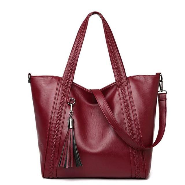 8c5f95955 Mulheres da moda PU Bolsas de Couro Designer Senhoras Marca de Luxo Borla  Ombro Fêmea Grande