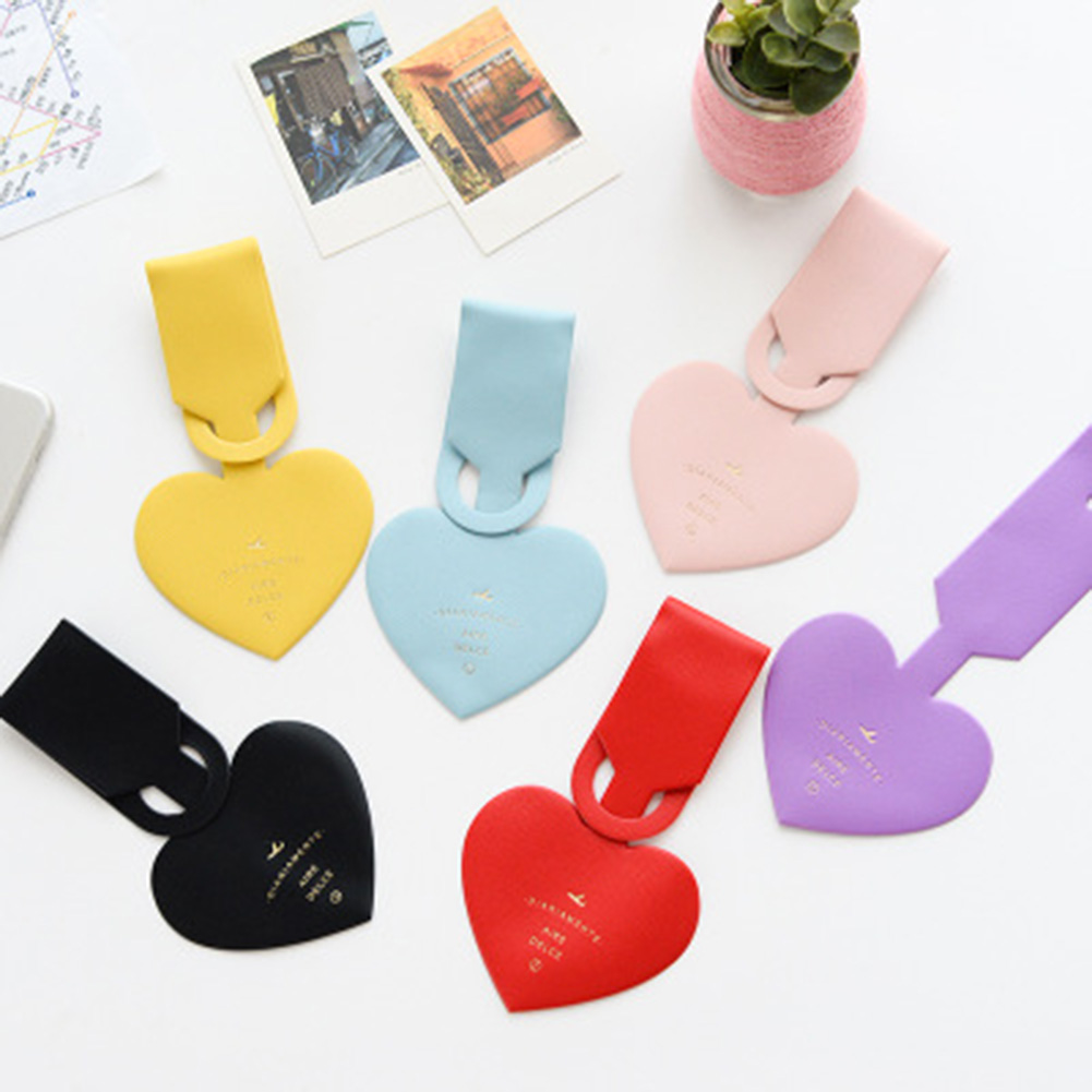 1PC 6 Colors Love Clouds Passport Holder Luggage Card Tag Strap Passport Cover Simple Leather Luggage Tag Card