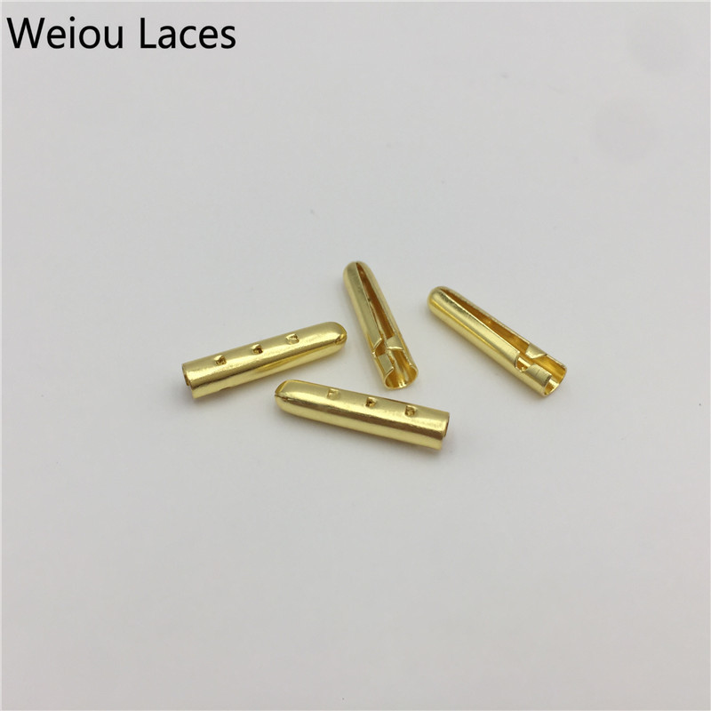 Weiou New 4pcs/1Set 3x17mm Luxury Metal Tricks Tips Heads Gold Silver Gunblack Bullet Aglets For Sneakers Shoelaces Clothes DIY weiou 20pcs 5 sets shoe laces metal tips plating shoelaces ends aglets for clothes laces silver gold gunblack rose 3 17mm