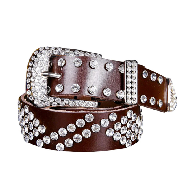 Venta caliente Atlas Occidental Vaquera Bling Leather Cowgirl Cinturón Ceinture Clear Rhinestone Crystak Nueva Alta Calidad Buen Regalo