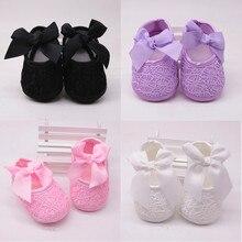 Одежда для новорожденных девочек, Мягкая обувь мягкая подошва, не скользят, удобные, с бантом, обувь для колыбельки, однотонная хлопковая обувь в возрасте для от 0 до 18 месяцев