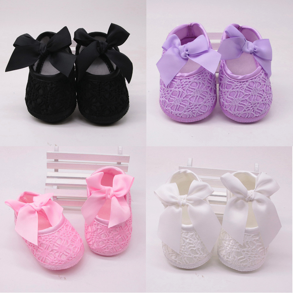 Newborn Baby Girls Soft Shoes Soft Soled Non-slip Bowknot Footwear Crib Shoes Cotton Soild Shoes Aged For 0-18M Baby