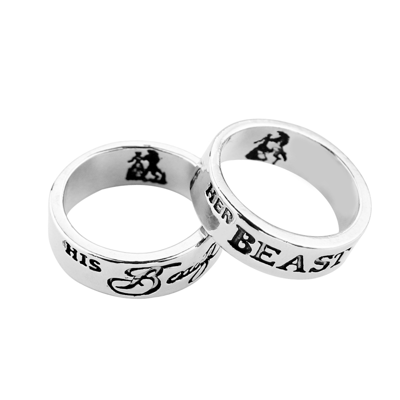 Fairy tale Beauty and The Beast Rings romantic Sweet Letter His ...