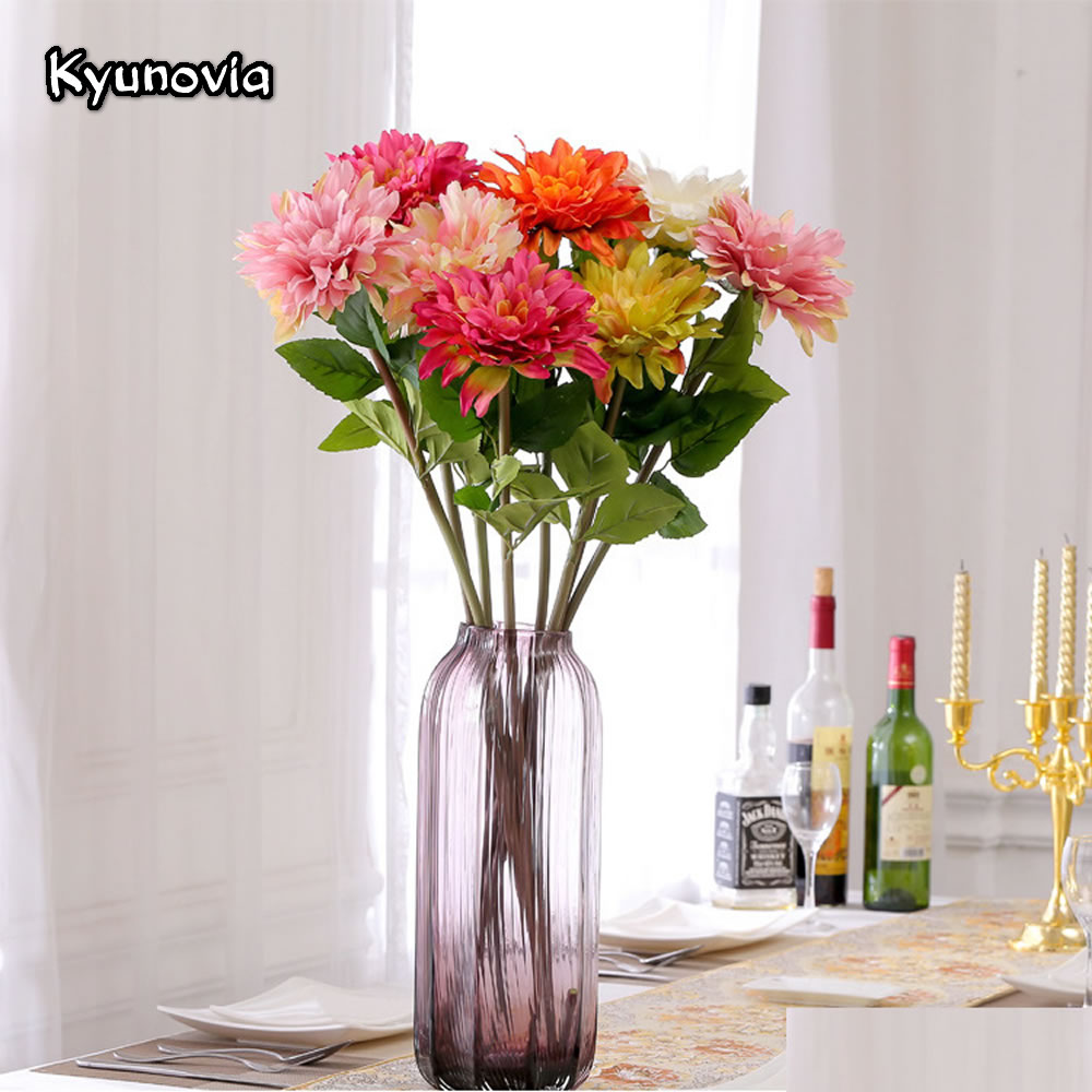 Kyunovia Long Stem Dahlia Silk Flower African Chrysanthemum Flower ...