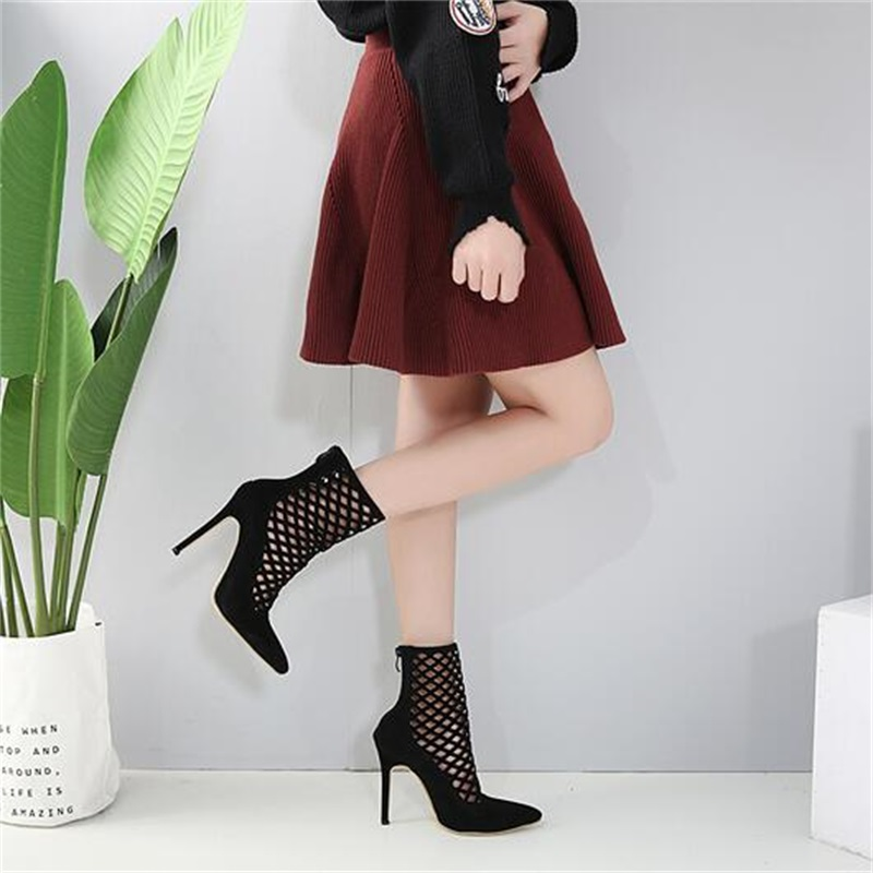 HiHopGirls 2018 Spring Autumn Gladiator Sexy Women Flock stiletto Thin high heels shoes Pointed toe pumps hollow woman boots new spring summer women pumps classic flock high heeled wedding shoes thin pink high heel shoes hollow pointed stiletto elegant