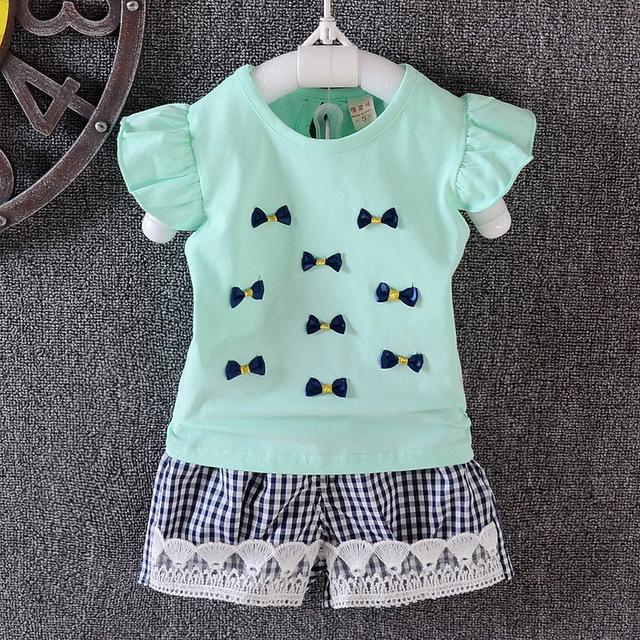 Novo 2016 Do Bebê Boys & girls Conjuntos de Roupas Conjuntos de Roupas Infantis Do Bebê Verão Sem Mangas Arco T-shirt + shorts crianças Crianças Roupas Terno