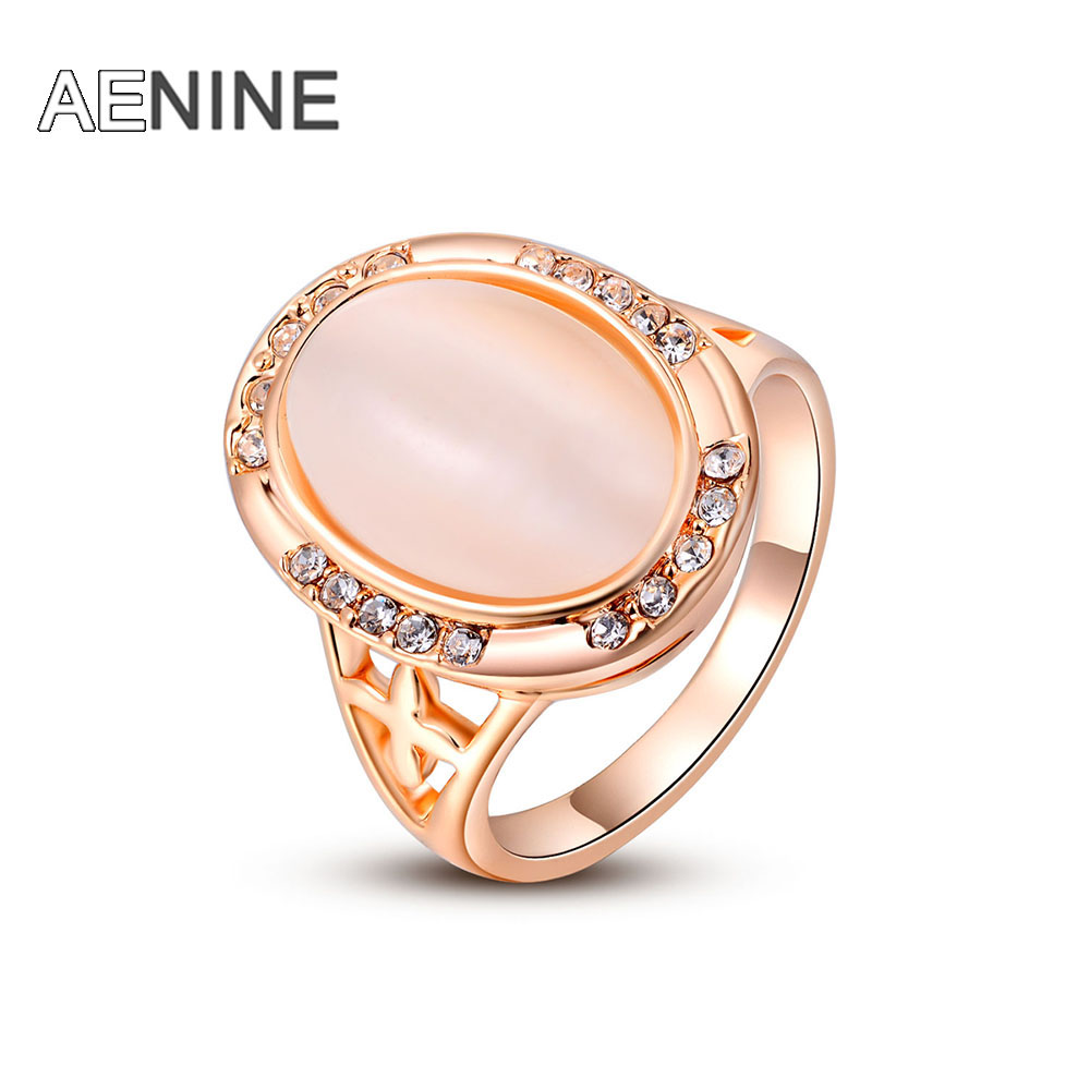 AENINE Christmas Gift Classic Genuine Austrian Crystals Sample Sales Rose Gold Color Pink Opal Ring Jewelry Party L2010221350