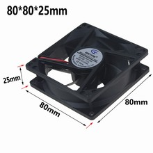 10Pcs Gdstime DC Axial Cooling Fan 48V 0.1A 2 Wires 80x80x25mm 8025 8cm 80mm