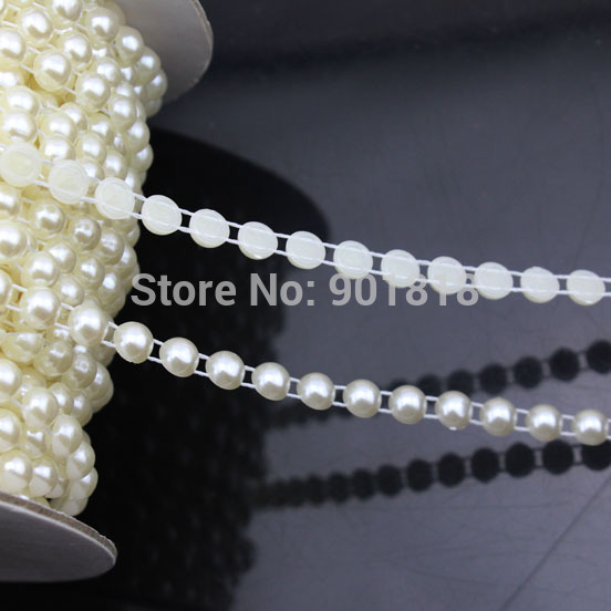 5 yards/lot Dia 6mm Round Wedding Decoration ABS Flat Back White String Pearl Rolls Chain DIY Jewelry Clothes Material F1579