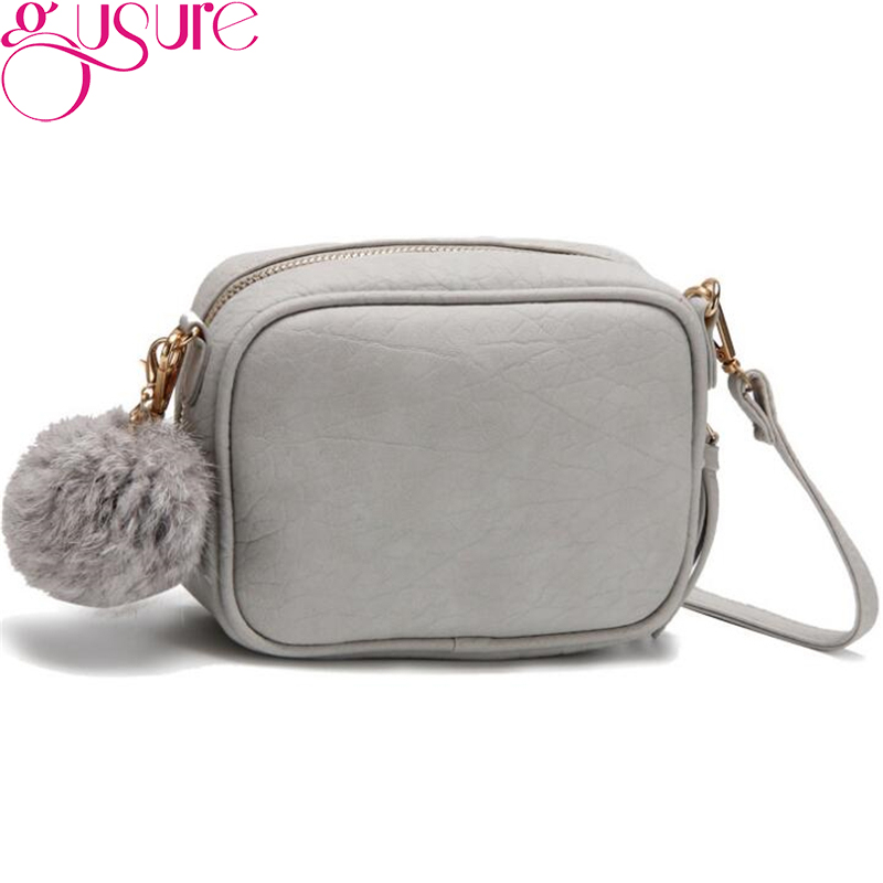 Gusure Fashion Trend Small Shoulder Bags With Fur Ball Hanging Messenger Bag For Women Casual Mini Sweet Crossbody Bags