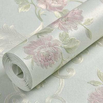 Estilo Europeo En Relieve Floral Pared Rollo De Papel Rosa Beige