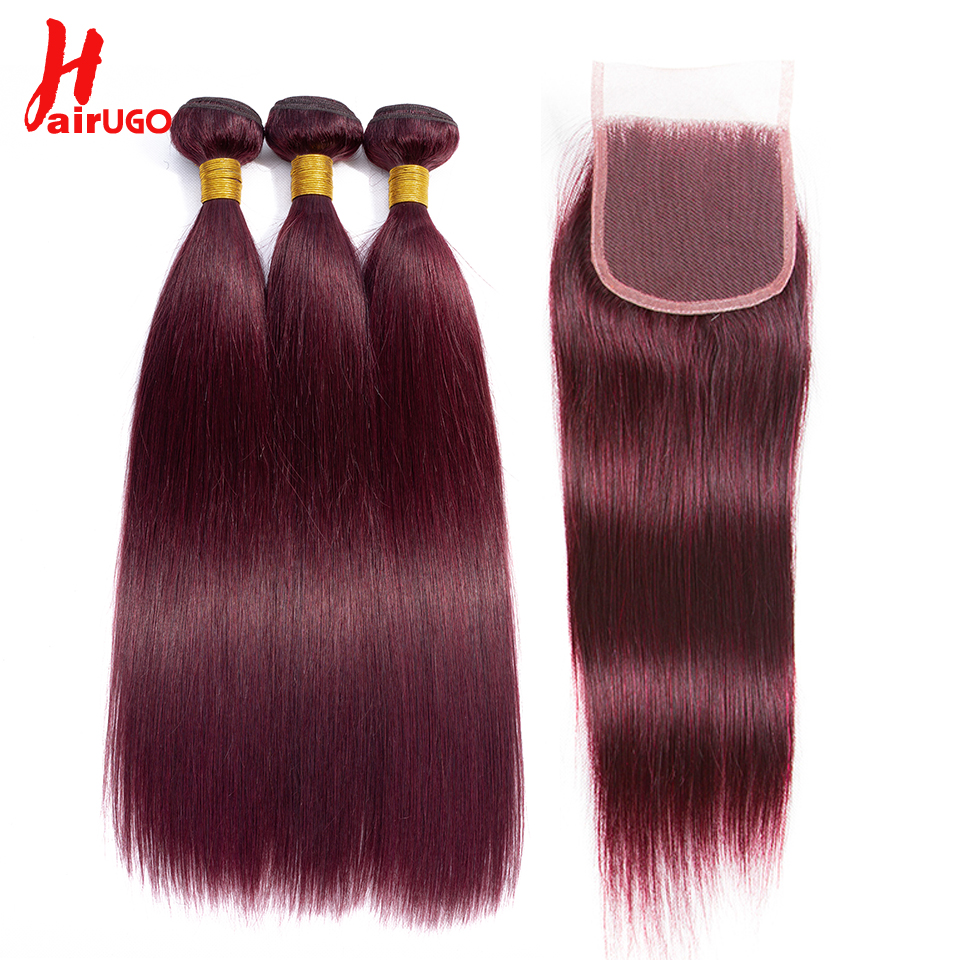 HairUGo Brazilian Hair Weave Bundles With Closure 99J Burgundy Straight Ombre Human Hair Bundles With Closure