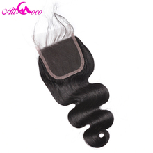 Brazilian Body Wave Lace Closure With Baby Hair Human Hair Closure 4*4 Free Part  8″-20″ Non Remy Ali Coco Hair