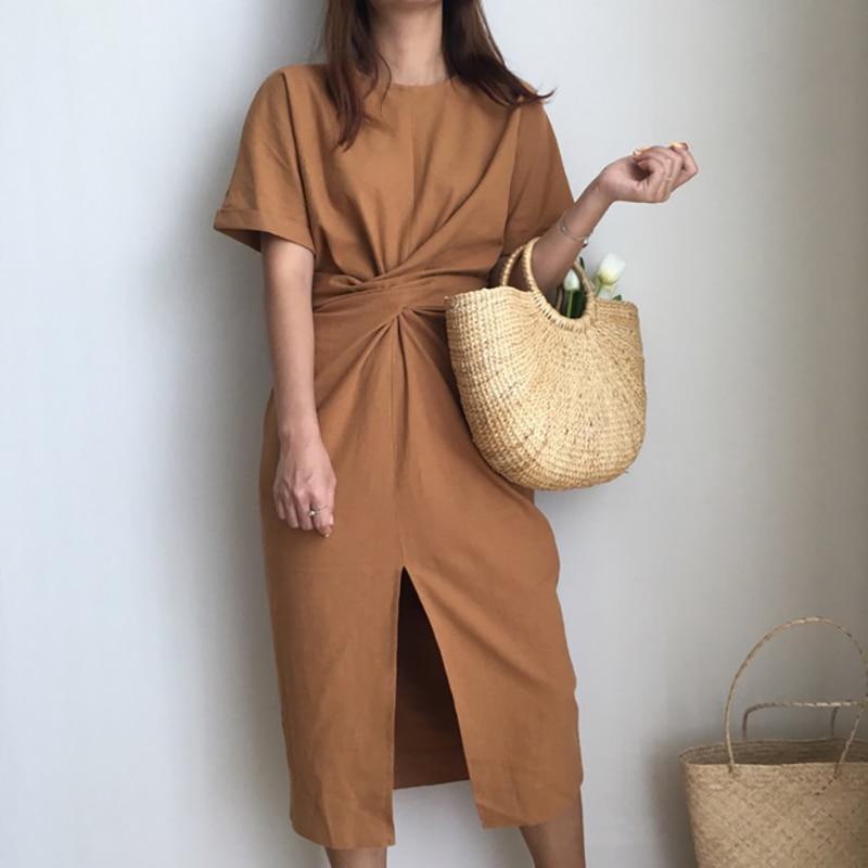 2018 women's summer cotton bodycon vintage long dress female short sleeve bandage vestidos split plus size dresses