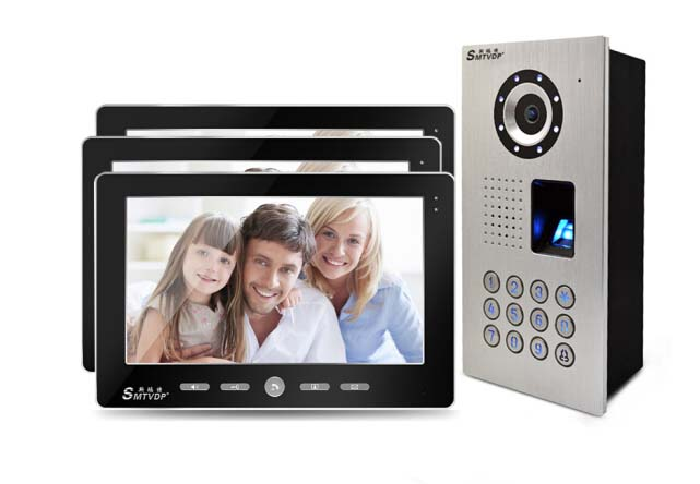 SMTVDP Home Intercom System New Arrival 10Video Door Phone,HD IR Metal Camera,fingerprint,ID Card, Password unlock function 1V3