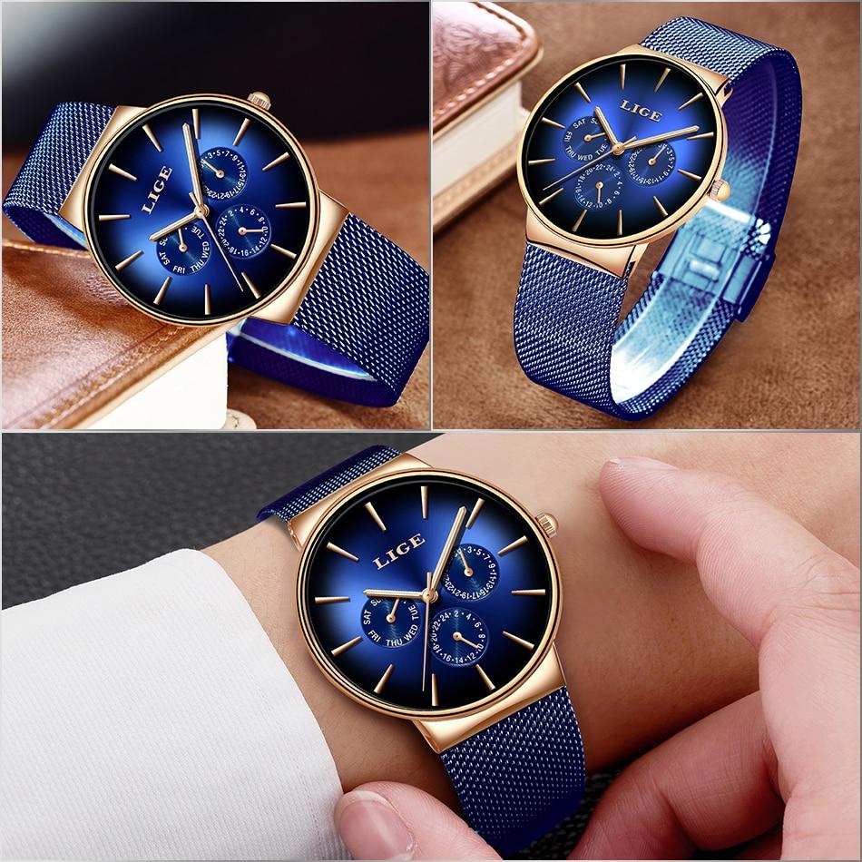 HTB1eEkWS4TpK1RjSZFMq6zG VXal 2019 LIGE Casual Thin Mesh Belt Fashion Quartz Gold Watch Mens Watches Top Brand Luxury Sport Waterproof Clock Relogio Masculino