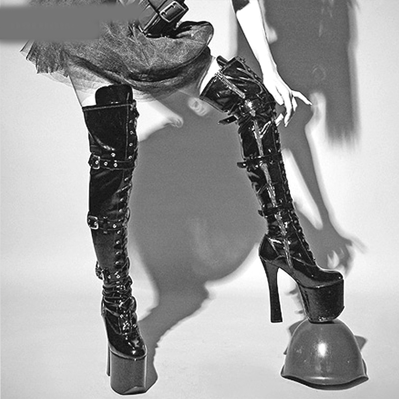 741b5185 De Black Zapatos Night Modelo Rodilla red Polo Mujer Club Sexy Botas Marca Cm  Tacones Baile ...