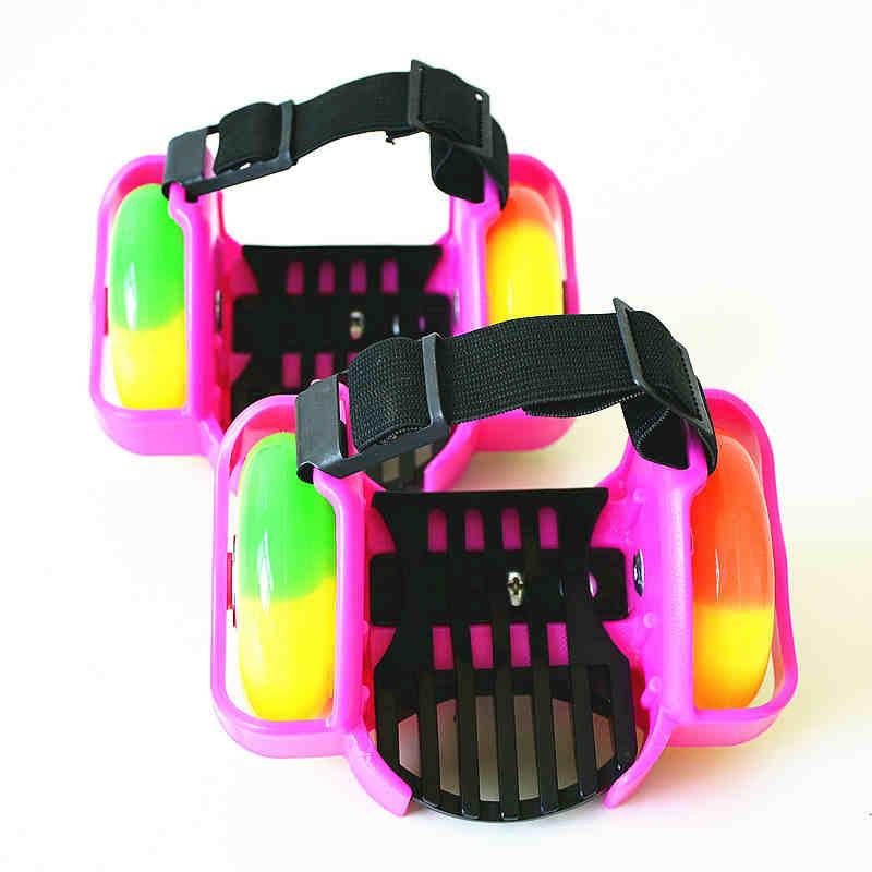Children PU+ABS+LED Flashing Roller Skate Shoes Portable Roller Road Skating Flashing Roller With Wheels Sports Skate Roller