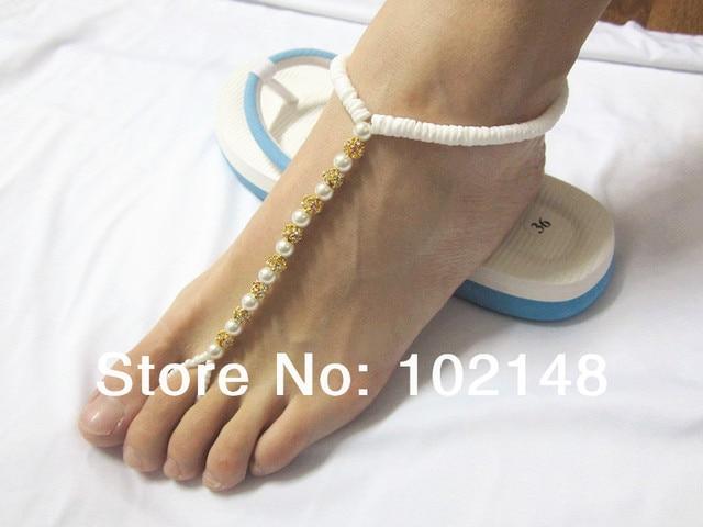 2014 Summer Hit Barefoot Sandals Beach Wedding Accessories Foot Jewelry With Ball Rhinestone