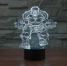 Hot NEW 7color changing 3D Bulbing Light hulk avengers visual illusion LED lamp action figure toy