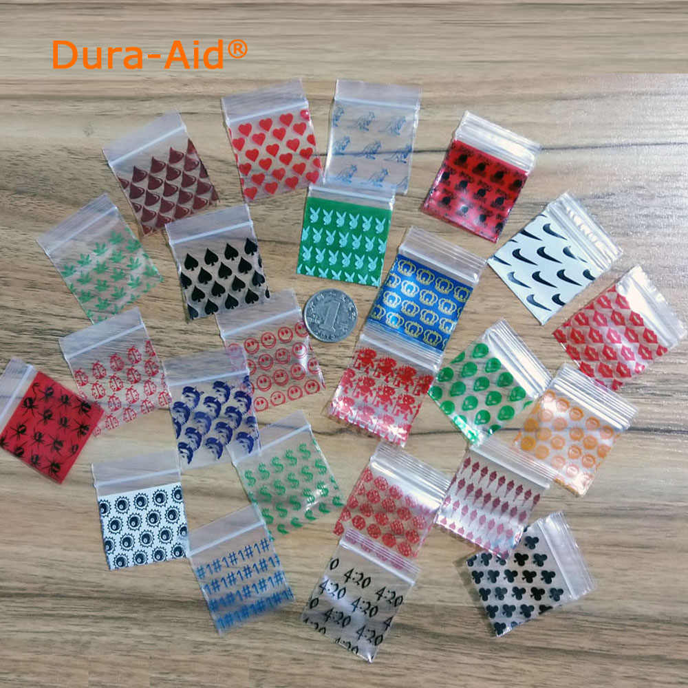 500pcs 3 different color printing small size Self Sealing Zip Lock Bags Mini ziplock jewelry pouches Plastic Packaging bags