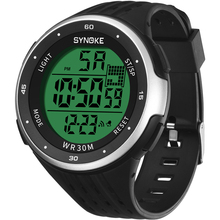 SYNOKE Men Digital Watches High Quality Black Outdoor Sports Electronic Large Dial Shockproof Watches Fashion Waterproof Clocks