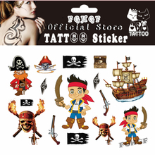 Y-XLWAN 10PCS/lot Little pirate Child Temporary Body Art Flash Tattoo Sticker 17*10cm Waterproof painless tattoo