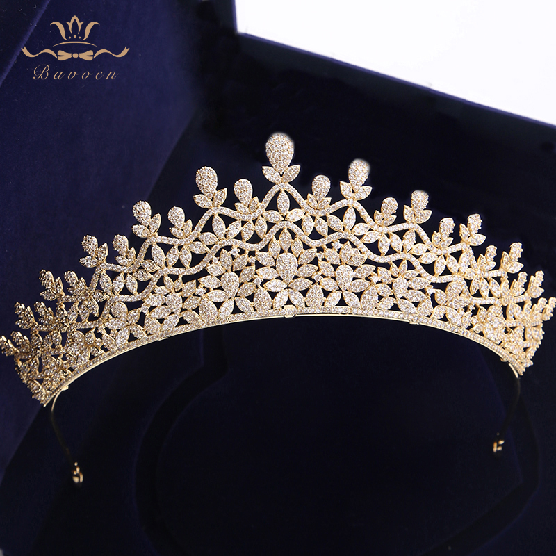 Top Quality European Royal Queen Gold Tiaras Crowns for Brides Crystal Brides Hairbands Full Zircon Wedding