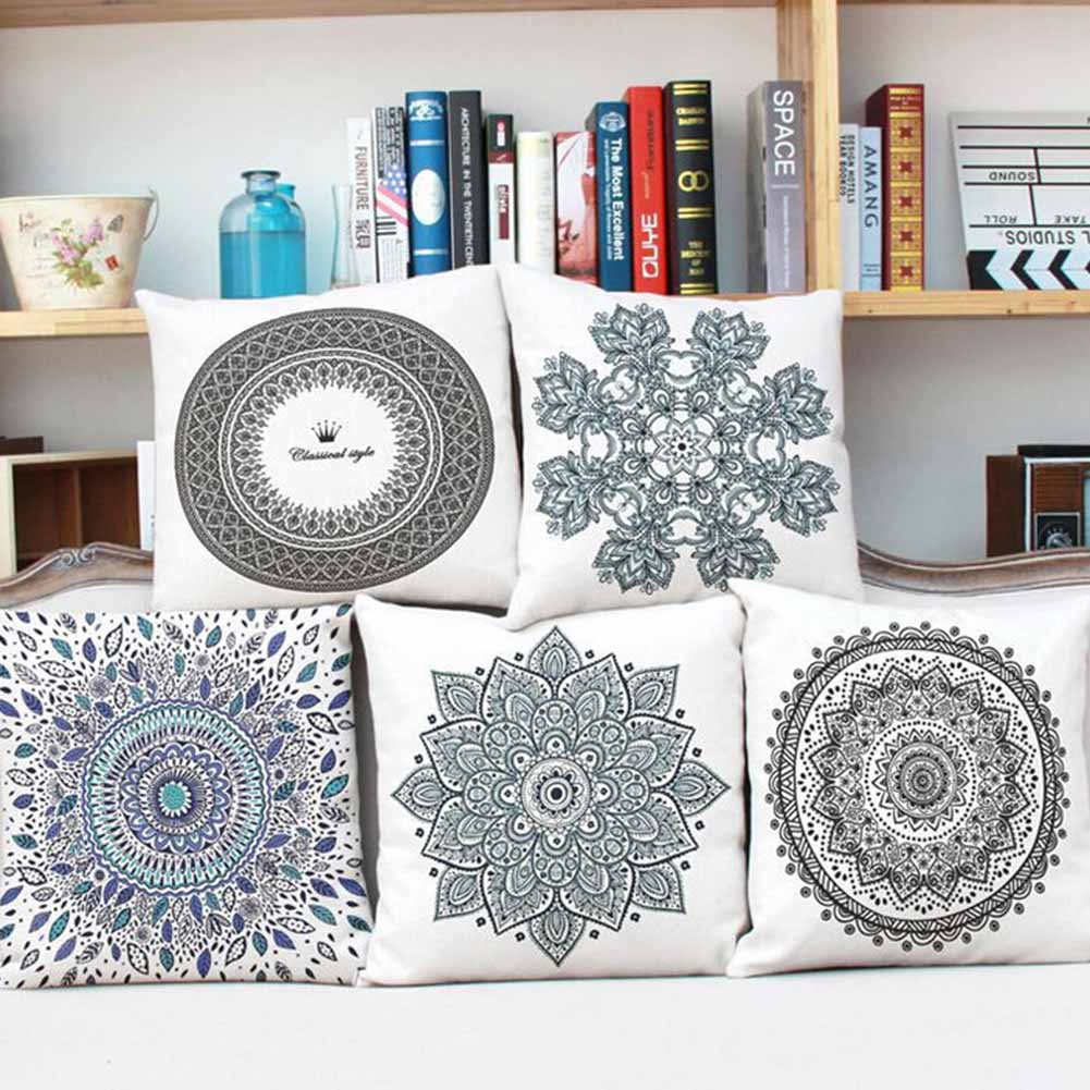 Geometric Flower Cushion Cover Mandala Pattern Thin Linen Cotton Ramadan Pillow Case Candy Color Baby Decoration