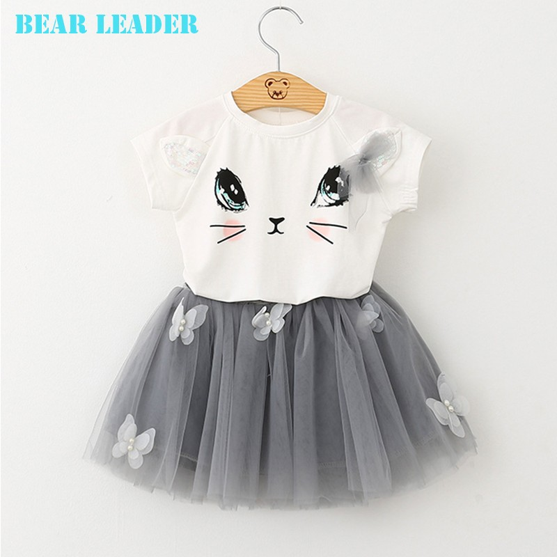 Bear Leader Girls Clothing Sets New Summer Fashion Style Cartoon Kitten Printed T-Shirts+Net Veil Dress 2Pcs Girls Clothes Sets 29
