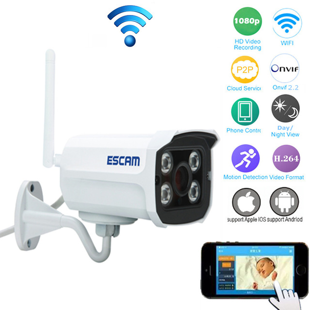 ФОТО Escam QD900 WIFI IP Camera 1080P Network Infrared Bullet Outdoor Waterproof IP66 3.6mm Lens Night Vision P2P Onvif WIFI Camera