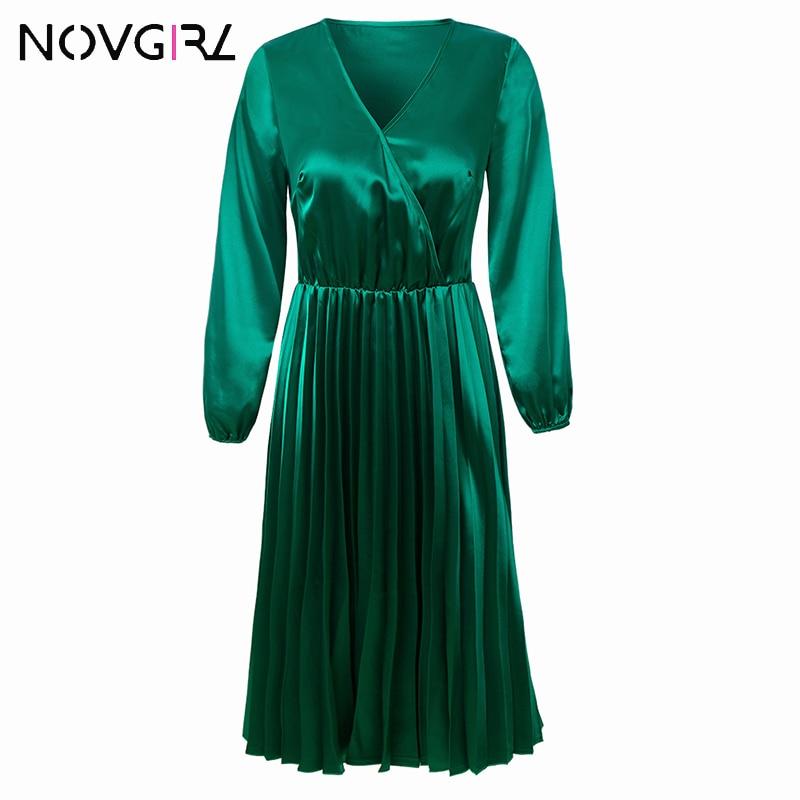 Novgirl Elegant Fit And Flare Pleated Satin Dress Women 19 Summer Autumn Off Shoulder Long Sleeve Ladies Casual Green Vestidos 3