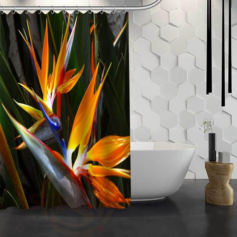 Hot Sale Custom Bird Of Paradise Flower Shower Curtain Waterproof Fabric Bath For Bathroom FY1 17