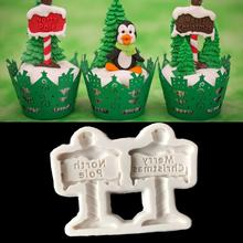 2018 Merry Christmas Guideboard Silicone Tree Mold Fondant Cake Decoration DIY Mould Kitchen Tools Hot