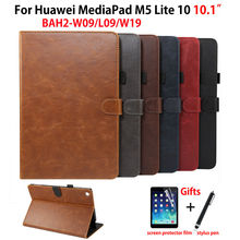 """Luxury Case For Huawei MediaPad M5 lite 10 BAH2 L09/W09/W19 10.1"""" Cover Funda Tablet PU Leather Stand Skin Shell +Film+Pen"""