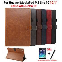 "Luxus Fall Für Huawei MediaPad M5 lite 10 BAH2 L09/W09/W19 10,1 ""Abdeckung Funda Tablet PU Leder stehen Haut Shell + Film + Stift"