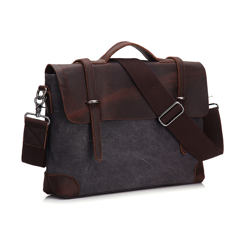 Nesitu High Quality Vintage Crazy Horse Leather Canvas Men Briefcase Messenger Bags Shoulder Bag Portfolio Man