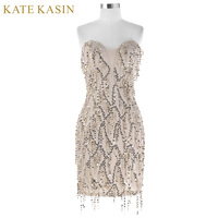 Kate Kasin Short Sequin Cocktail Dresses 2017 Knee Length Summer Party Gown Sexy Sleeveless Tassel Robe