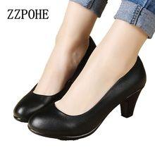 Женская обувь весна и осень новые черные кожаные ботинки сексуальные и удобные женщины работа туфли на высоком каблуке