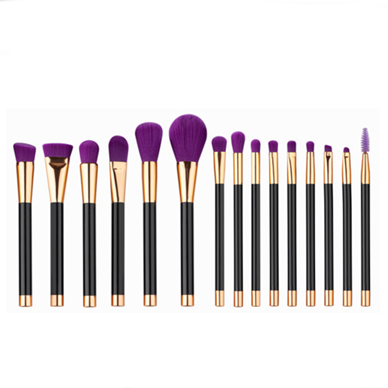 15pcs Purple Professional Makeup Brush Set Blush Eyebrow Eyeliner Eyeshadow Foundation Brush Cosmetic Brushes Tool Kit 7pcs makeup brushes professional fashion mermaid makeup brush synthetic hair eyebrow eyeliner blush cosmetic