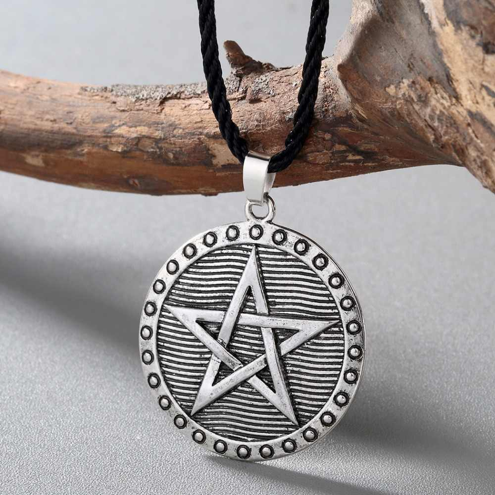 CHENGXUN Men Women Slavic Amulet Necklace Odin Symbol Nordic Ethnic Charm Pendant Pentagram Star Wiccan Necklace for Boyfriend