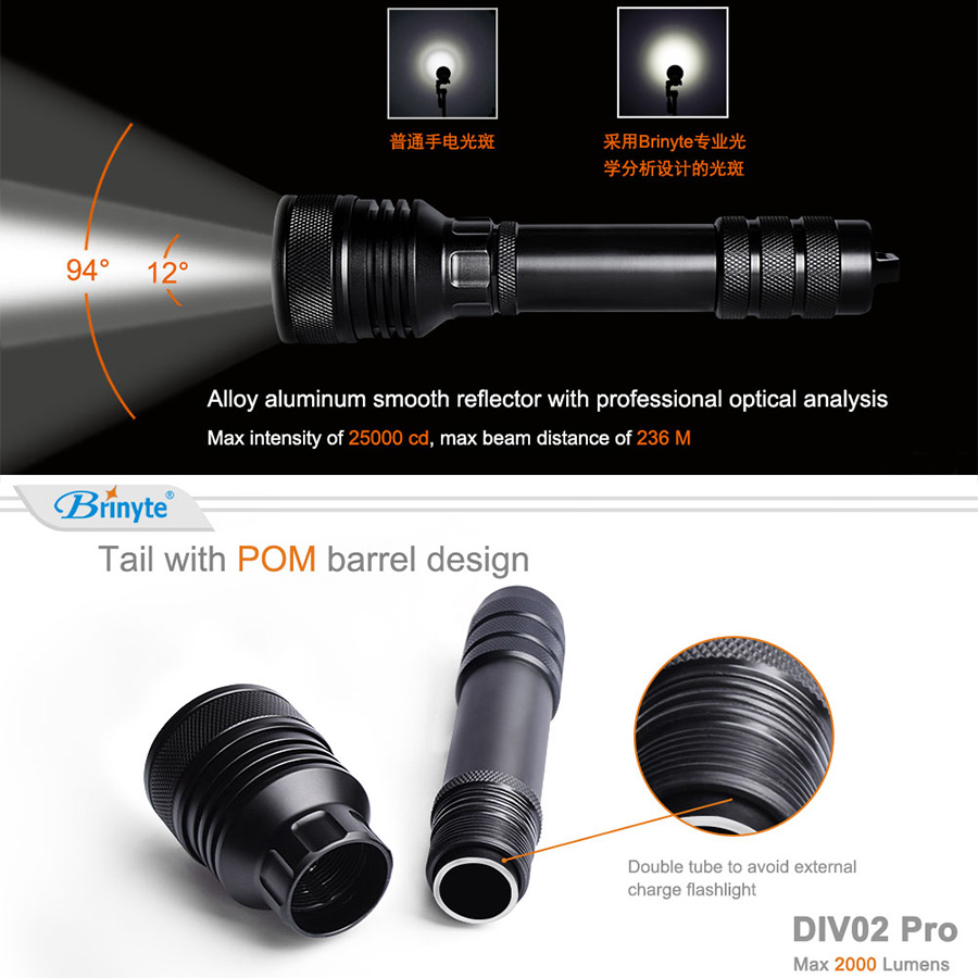 Waterproof LED Diving Flashlight 2000 Lumens XHP50 Underwater 150m and Shock Resistant for Professional Diving