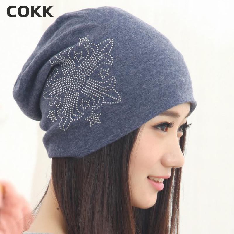 COKK Casual Beanies Hats For Women Fashion Knitted Spring Winter Hat Solid Color Diamond Arrow Hip Hop Skullies Cap Female Gorro  цены