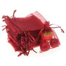 100 шт./лот, красное вино, маленькие сумки из органзы 7x9 см, Свадебный Рождественский мешок для подарков, упаковка для ювелирных изделий, сумки и сумки