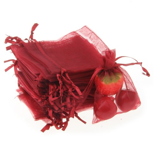 Wholesale 100pcs/lot Drawable Wine Red Small Organza Bags 7x9cm Favor Wedding Christmas Gift Bag Jewelry Packaging Bags & Pouche