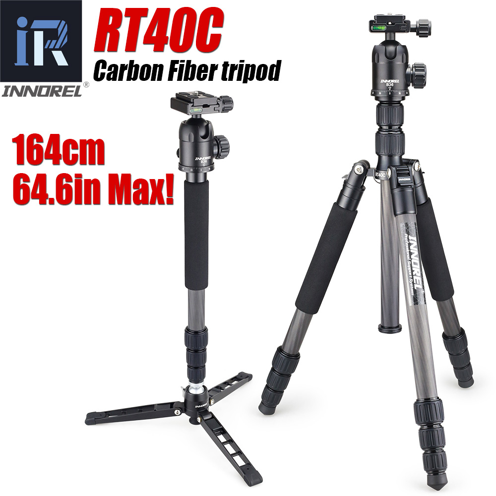 RT40C Professional Carbon Fiber Tripod For Digital Dslr Camera Lightweight Stand High Quality Tripe For Gopro Tripode 164cm Max